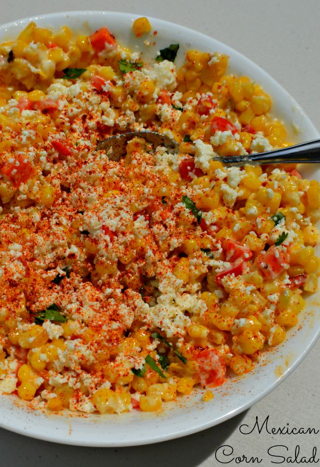 Mexican Corn Salad - My Sweet Sanity. This as a side...wonder if it would be good with chicken or beef mixed in to make it the main dish?