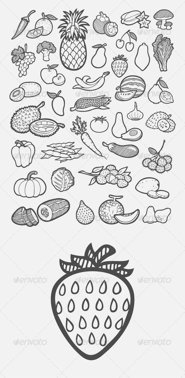 Fruit and Vegetable Icons Sketch ... artistic, artwork, avocado, banana, clip art, collection, design, doodle, drawing, element, food, fruit, guava, hand drawn, illustration, isolated, kiwi, mushroom, organic objects, pack, salad, set, sketches, strawberry, symbol, vector, vegetable, water melon, website icon