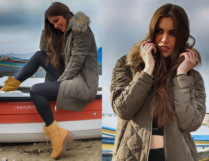 Μπουφάν χακί καπιτονέ   Αρβυλάκι κάμελ ορειβασίας #woman_jacket #womenfashion #thessaloniki #chica_maritina #maritinaandrioti
