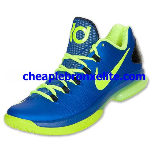 off Cheap Kevin Durant Shoes,Nike KD V Elite Hyper Blue Volt Blackened Blue  585386 400