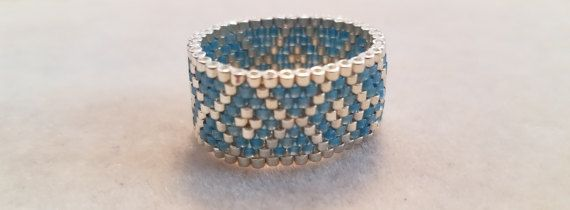Peyote Seed Bead Ring Teal and Silver Delica Beads Seed Bead