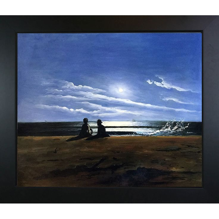 Winslow Homer 'Moonlight ' Hand Painted Framed Art