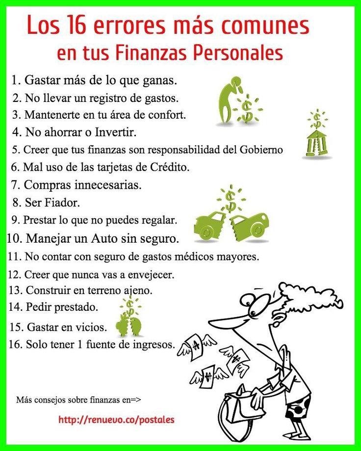 16 errores comunes en tus finanzas personales...
