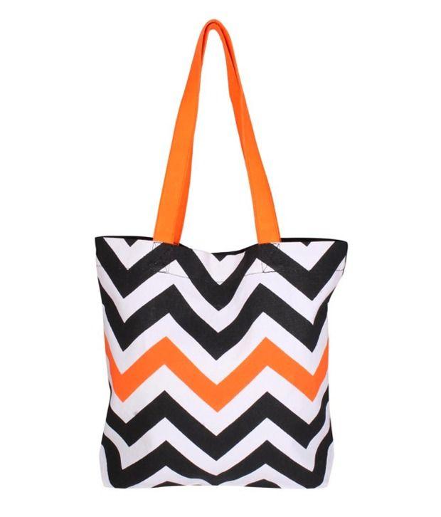 Be For Bag Zigzag Design Tote Bag - Black