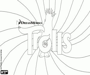 Free A poster of the film Trolls to coloring. A troll hiding behind of the logo. The psychedelic background to represent the variety of colours of the hair of the trolls coloring and printable page.