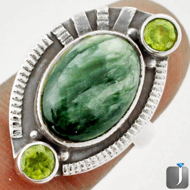 8.29cts GREEN SERAPHINITE PERIDOT 925 STERLING SILVER RING size 6.5 C94782 #Jewelexi #RingHarness