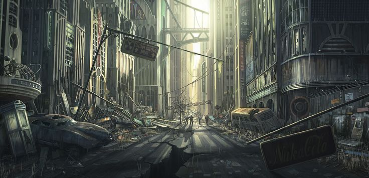 11 best dystopian cityscape environment design images on pinterest post apocalypse - Fallout new vegas skyline ...