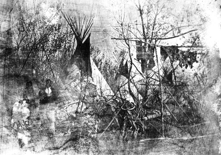The only surviving daguerreotype from Solomon Nunes Carvalho's journey West in 1853 depicts a view of the Cheyenne Village at Big Timbers. A pair of figures stand to the left; drying hides hang on the right. Courtesy of Library of Congress.