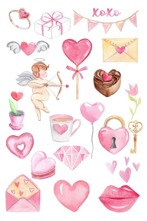 Pin By Ang Ivy Ramirez On Valentines In 2021 Valentines Watercolor Valentines Day Clipart Valentines Day Drawing