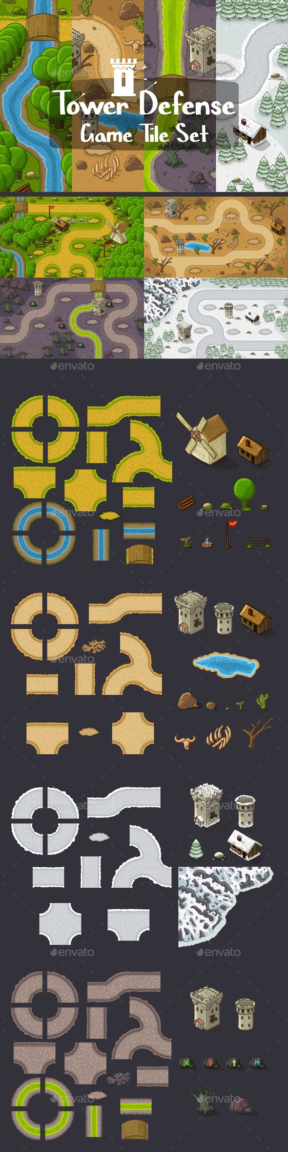 #Tower Defense Tile Sets - Tilesets #Game #Assets