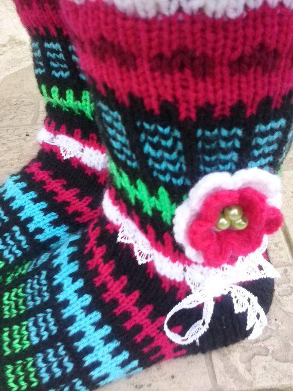 Flower socks Knit Sockssocks Handmade Socks with by stankashop