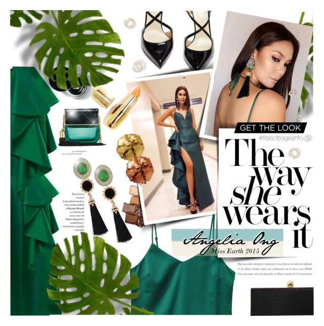"""TropiCOOL Angelia Ong Miss Earth 2015"" by lilith1521 ❤ liked on Polyvore featuring Johanna Ortiz, Francesco Russo, MANGO, Jimmy Choo, Maybelline, Marc Jacobs, Winky Lux, Pat McGrath, Ciner and GREEN"