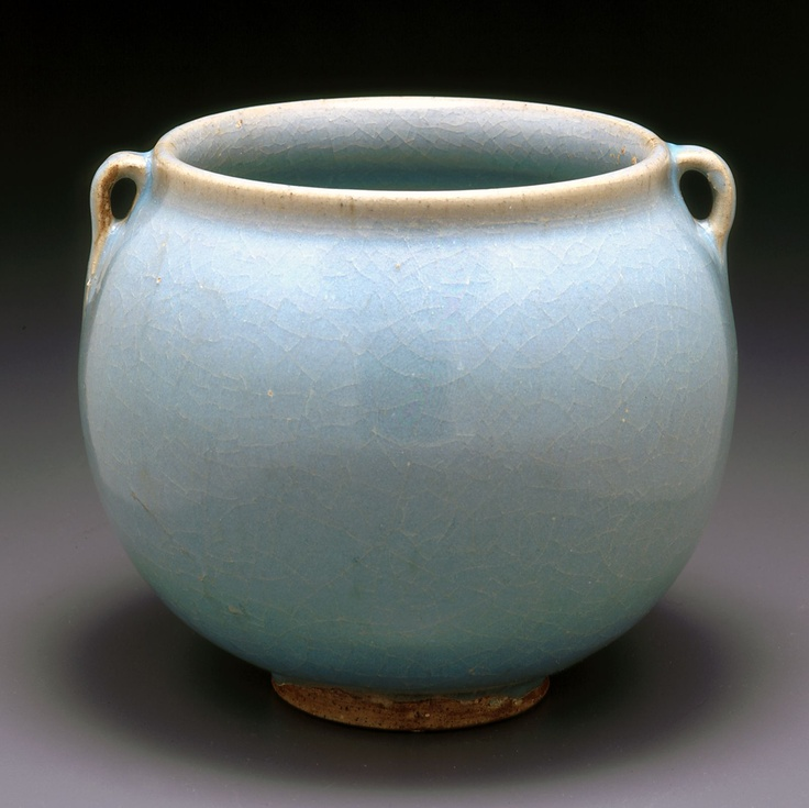 北宋  敞口雙耳罐 ( 鈞窯 )  jar with two loop handles (c.1120) from the Northern Song dynasty (960–1127).  Stoneware with blue glaze, Jun ware. via Indianapolis Museum of Art