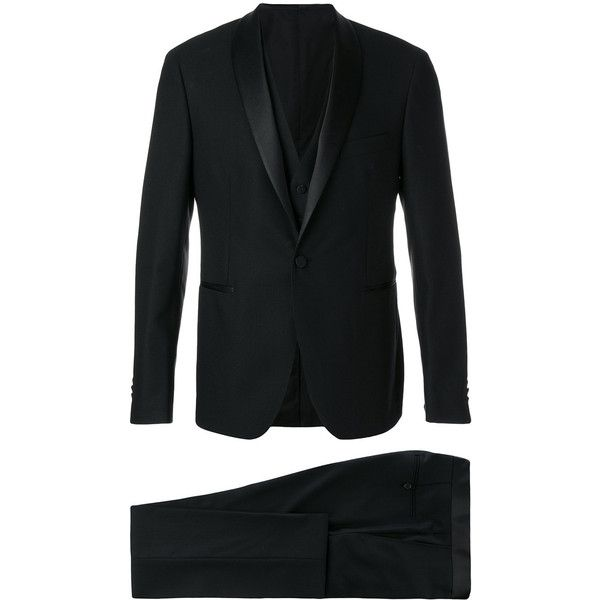 Tagliatore three-piece dinner suit (€945) ❤ liked on Polyvore featuring men's fashion, men's clothing, men's suits, black, mens three piece suit, mens 3 piece suits and mens tuxedo suit