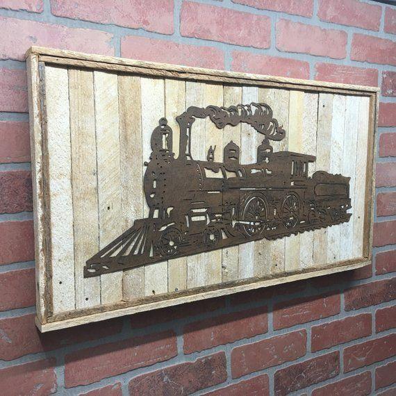 Rustic Metal Train Wall Decor Train Wall Art Train Decor Wood