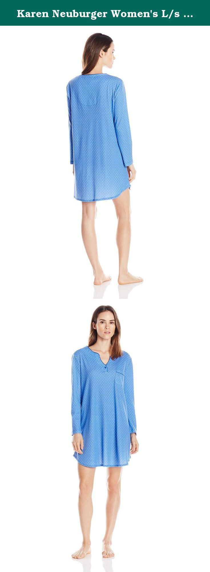 Karen Neuburger Women's L/s Pullover Nightshirt, Maroon Dot/Olympia Blue, Small. You'll want to lounge around in these pajamas all day Karen Neuburger sleepwear starts with light weight, cozy fabric (it's the softest we could find) and an easy fit. Next we add unique details-such as an embroidered pocket or fun contrast piping-to make these pajamas simply your favorite. Karen Neuburger started the all-day sleepwear revolution by designing pajamas she wanted to stay in all day long, twenty...