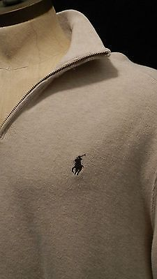 polo Ralph Lauren mens pullover sweater size Large L quarter zip tan NWOT beige