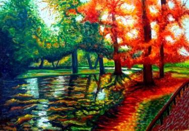"Saatchi Art Artist Dan Civa; Painting, ""Autumn in Danish Park, Copenhagen"" #art"