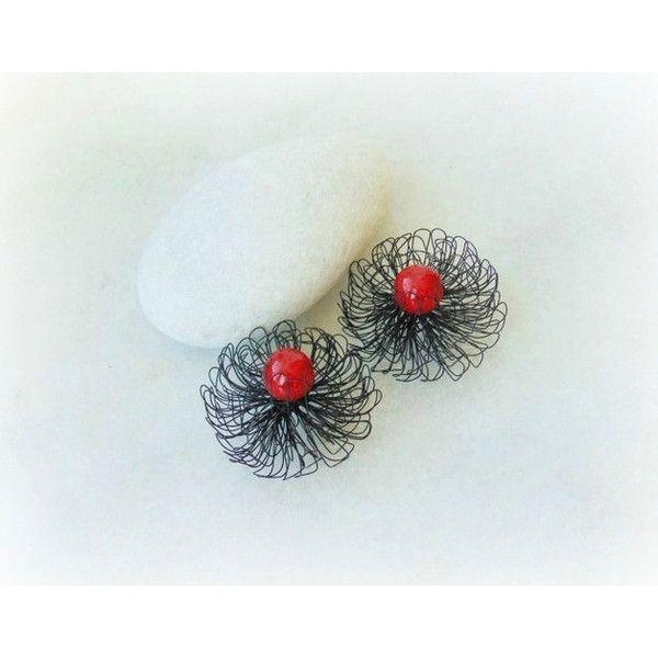 Wire wrap earrings, art deco earrings, wire wrap, wire earrings,... (94 PLN) ❤ liked on Polyvore featuring jewelry, earrings, deco jewelry, earrings jewelry, copper jewelry, marble earrings и flower jewellery