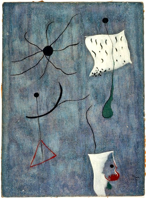 """1927 Oil on canvas 33 x 24 cm / 13 x 9 2⁄5""""   Signed and dated lower right: Miró. / 1927. Inscribed on the back: Joan Miró / 1927."""