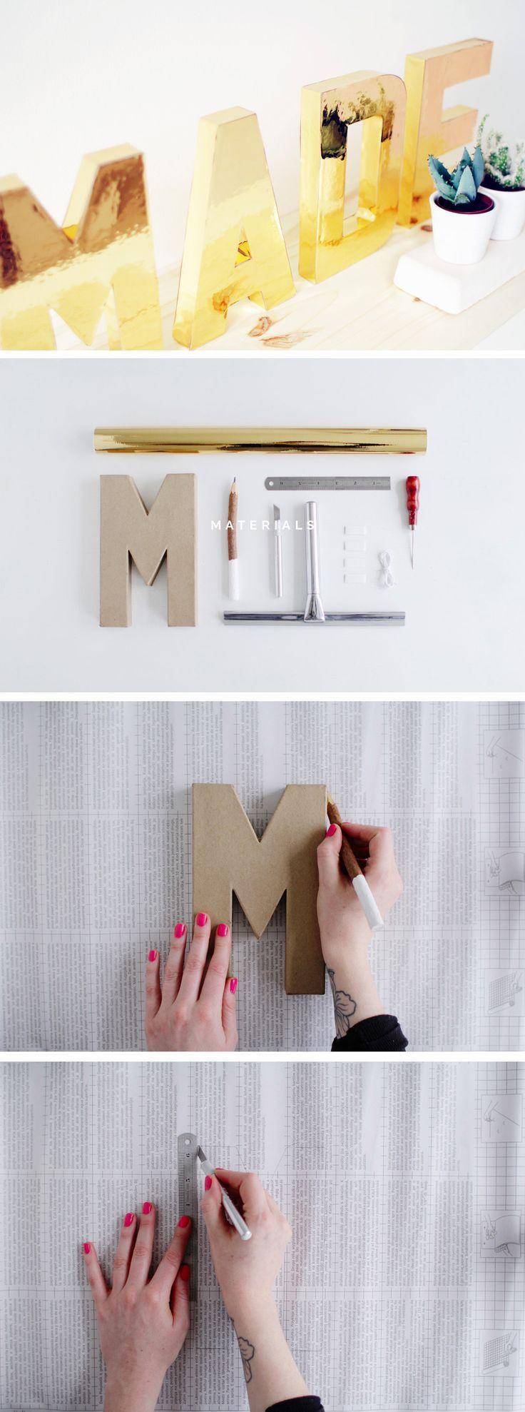 DIY Solid Gold Letters       http://fallfordiy.com/blog/2015/05/26/diy-solid-gold-letters/