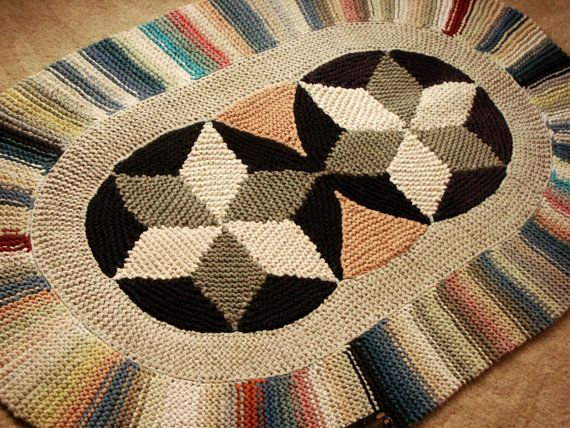 Vintage Judi Boisson Double Star Oval Crochet Rug