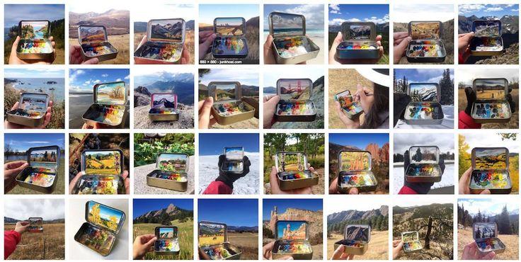 A Heidi Annalise é uma pintora, lá do Colorado, que usa pequenaslatinhas como cavalete e paleta de cores. É praticamente uma Polaroid analógica. Com certeza a solução mais prática, portátil e engenhosado universodas pinturas.    Ela pega isso: ...