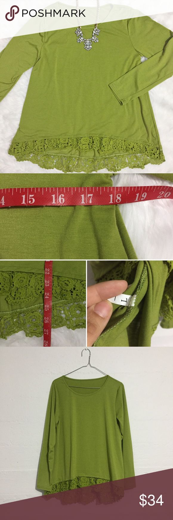 Green long sleeve top with Lace hem Green long sleeve top with Lace hem. There is no fabric content info available. Open to offers. No trades. Tops Tees - Long Sleeve