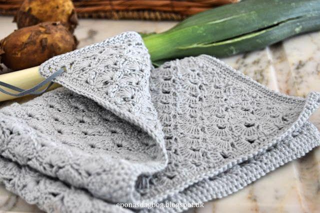 Hæklet muslingemønster, køkkenhåndklæde