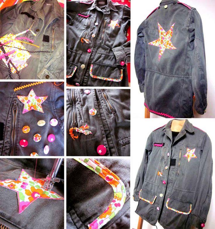 ♥ DIY Veste Militaire Customisée / DIY Custom Military Jacket ♥ http://www.creamalice.com/Coin_conseils/1-loisirs_creatifs_2013/2-Tuto_Veste_militaire_customisee/Tuto_DIY_Veste_militaire_customisee.htm www.creamalice.com