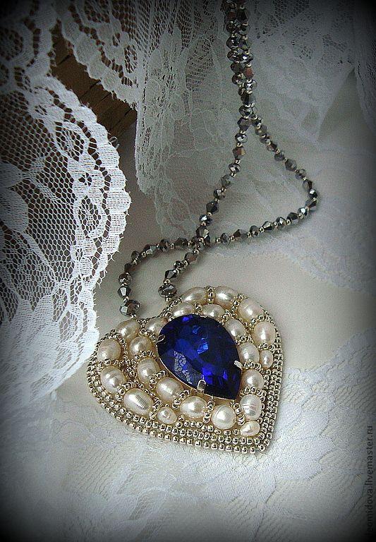 """""""СЕРДЦЕ ОКЕАНА"""" кулон - кулон с кристаллом,кулон с жемчугом,сердце,кулон-сердце"""