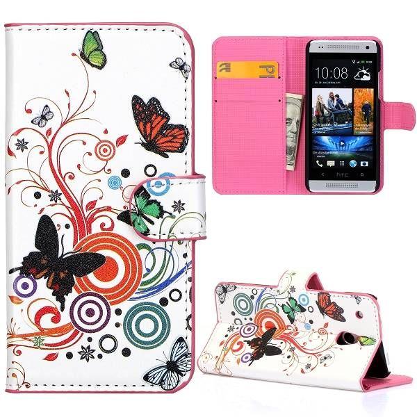 Kleurrijk vlinder booktype hoesje voor HTC One mini