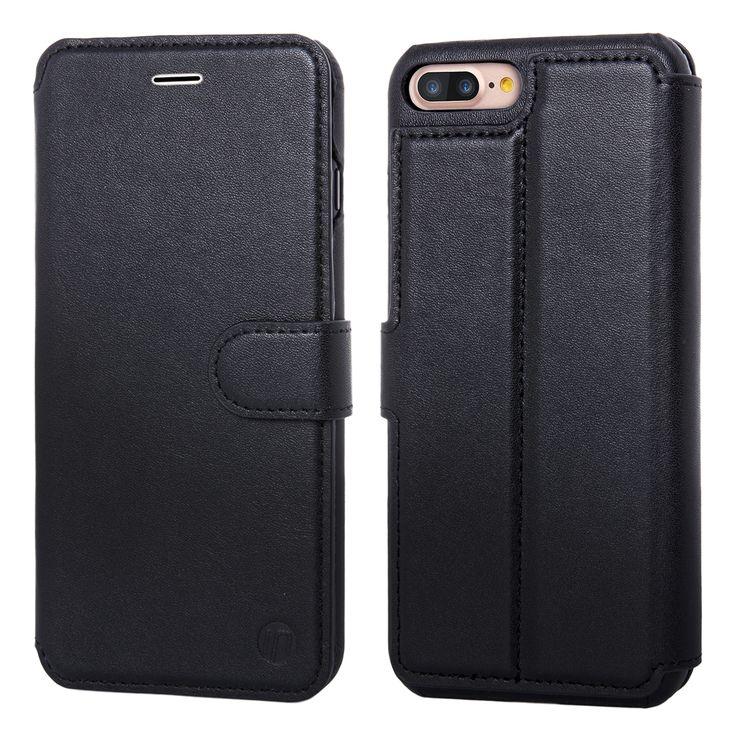 INONES 本革 iPhone 7 Plus ケース 手帳型 (硬度 9H 液晶保護 強化 ガラスフィルム) アイフォン 7 Plus ケース 本革レザー カード入れ スタンド機能 マグネット付き スリム 薄型【ブラック】