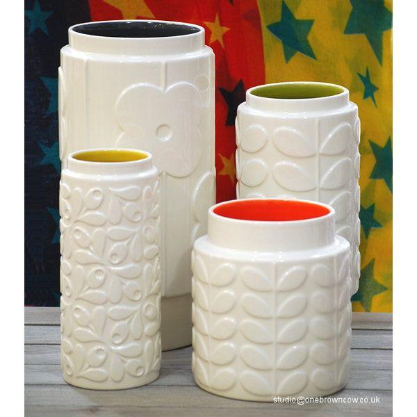 Orla Kiely Vase Small Acorn Yellow, Orla Kiely Vase Low Wide Stem Orange, Orla Kiely Vase Medium Stem Green Orla Kiely Vase Large Abacus Charcoal Grey