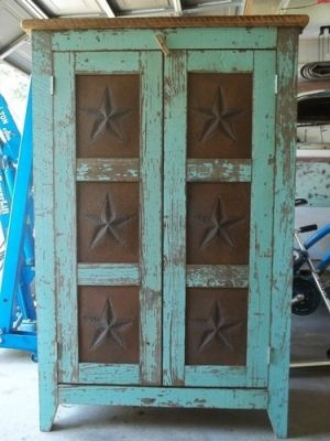 teal distressed barn star cabinet