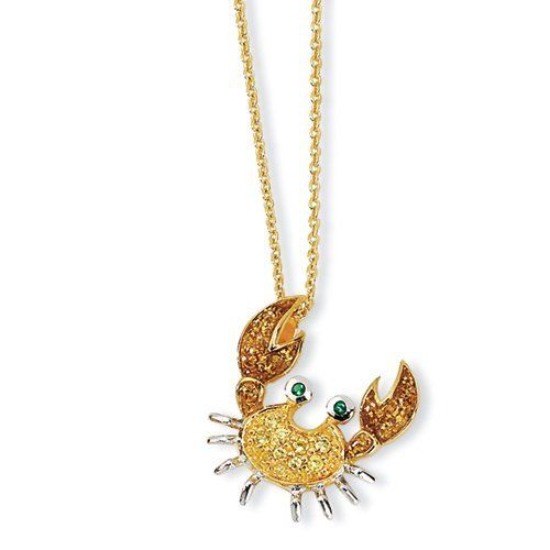 Gold-Plated Sterling Silver Cz & Sim. Emerald Crab 18in Necklace Cheryl M. $66.30
