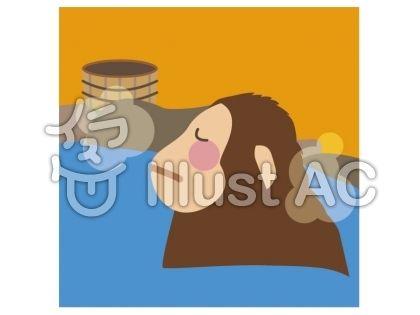 温泉に浸かる猿イラスト