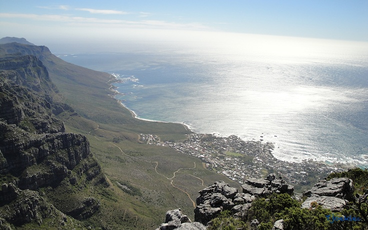 View from the top of Table Mountain, one of the New Seven Wonders Of The World.  Cape Town - South Africa