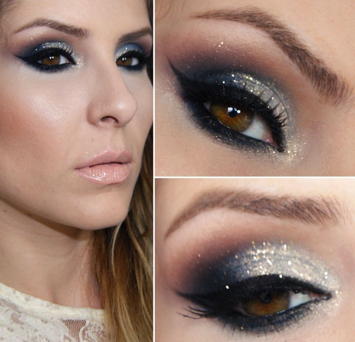 Tutorial – maquiagem com azul e dourado para o Natal por Claudia Guillen
