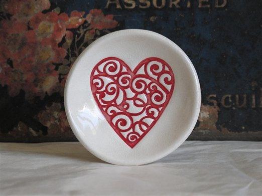 Mudbird Ceramics - Red Swirl Heart Dish