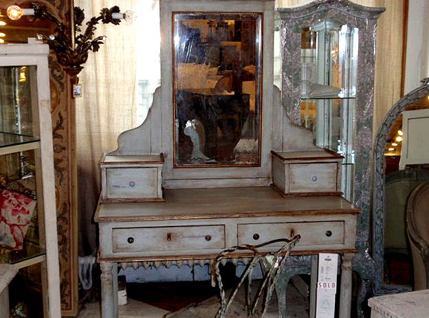With some fixing up it could be gorgeous. Bombay wood desk antique makeup vanity Pottery Barn