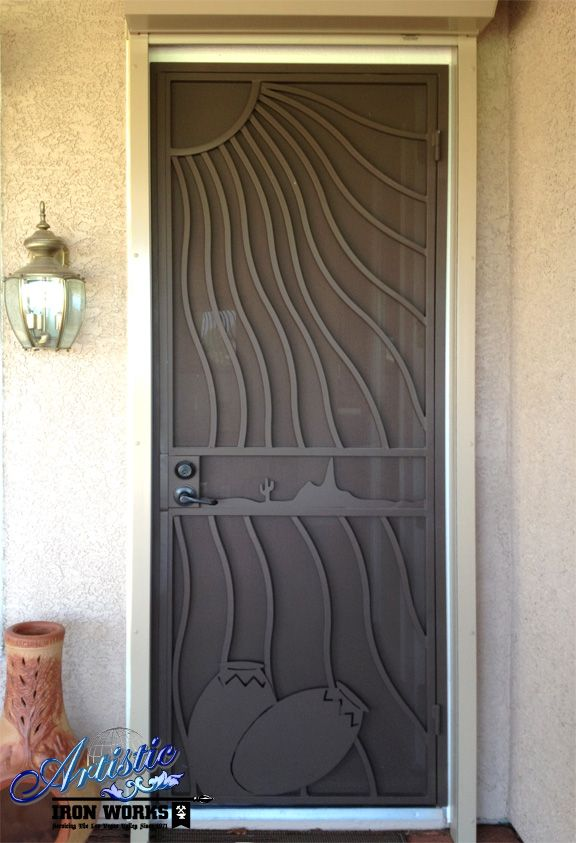 Southwest Themed Wrought Iron Security Door Doors