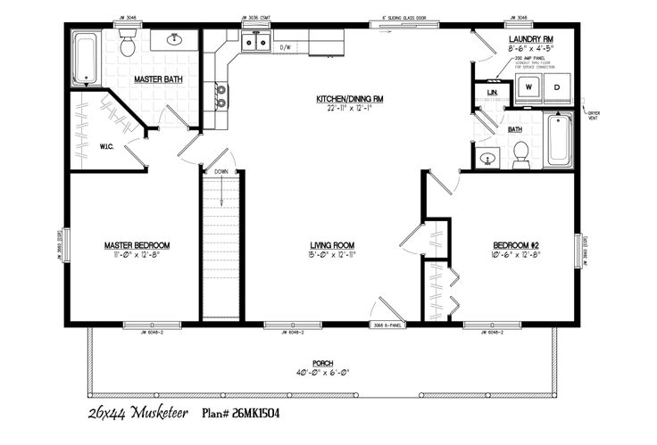 26 39 x 44 39 with 6 39 x 40 39 porch dream home pinterest for 16x32 cabin floor plans