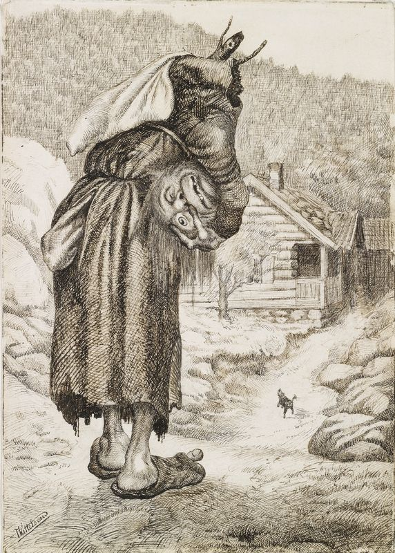 """Theodor Kittelsen, """"Det kommer en stor, lang haugkjærring med hodet under armen - -"""". (1883)"""