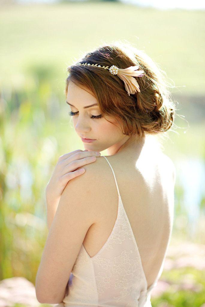Feather headband - style 1119 by Tessa Kim. #tessakim  Photography by Deyla Huss