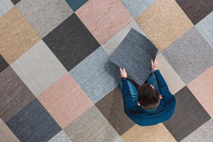 Různobarevné čtverce tkaného PVC ntgrate. / Multicolored tiles of woven vinyl ntgrate.  http://www.bocapraha.cz/cs/produkt/1061/gentle-ctverce/