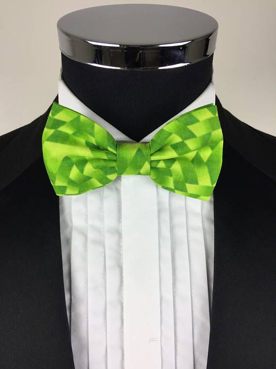 Funky Green patterned BowTie prom bowtie ascot bow tie