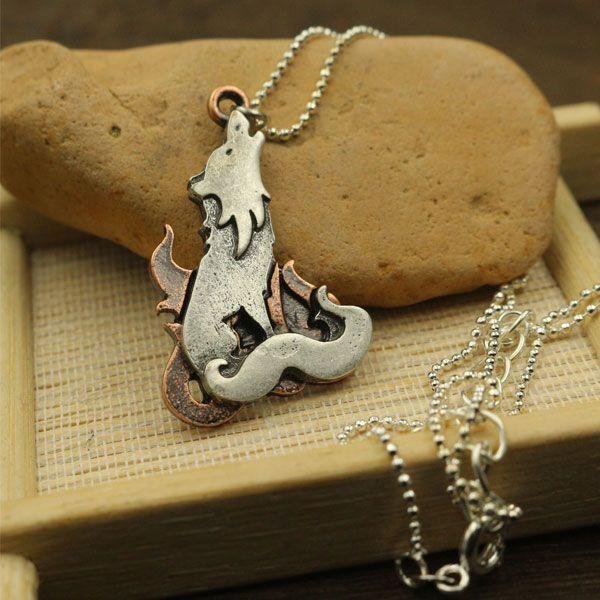 10pcs cute wolf lovey animals pendant stereoscopic necklace pendant girl jewelry
