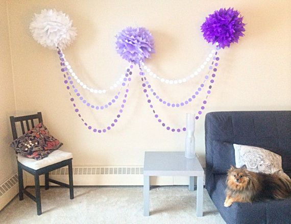Ombre Pom Pom Garland by JuliesElegantCrafts on Etsy