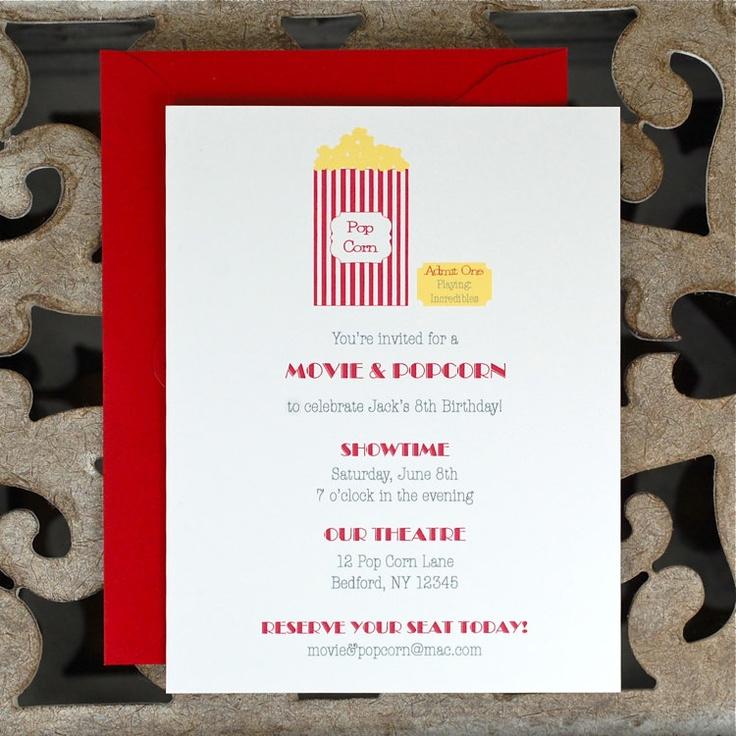Movie Party Invitations . Popcorn Party Invitations . Birthday Invitations - Movie & Popcorn Party. $18.00, via Etsy.
